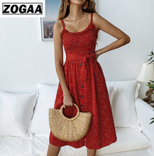 Women Dress Strapless Sexy Sleeveless Wave Point Ruffle Tie Button Female Bohemian Beach Party Dresses