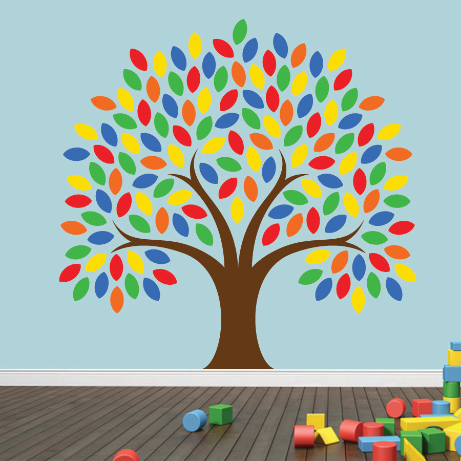Large 48u0027u0027 Colorful Clever Tree Wall Decal Vinyl Wall Art Stickers For Kids  Baby Room Nursery Bedroom Playroom Wall Decor A177