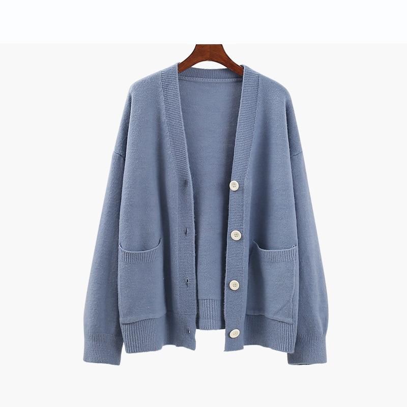 Bleu automne tricoté pull femmes 2019 nouvelle mode lâche chaud Cardigans femmes décontracté col en v à manches longues hiver chandail manteaux