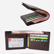 Leather Genuine Men Wallets business card holder men's purse high quality coin purse short rfid wallets male cowhide clutch W035