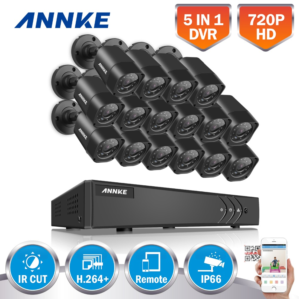ANNKE 16CH HD TVI 1080P Lite CCTV Security System DVR with (16) 720P Outdoor Fixed IP66 bullet Cameras Video Surveillance kit zosi 1080p 8ch tvi dvr with 8x 1080p hd outdoor home security video surveillance camera system 2tb hard drive white