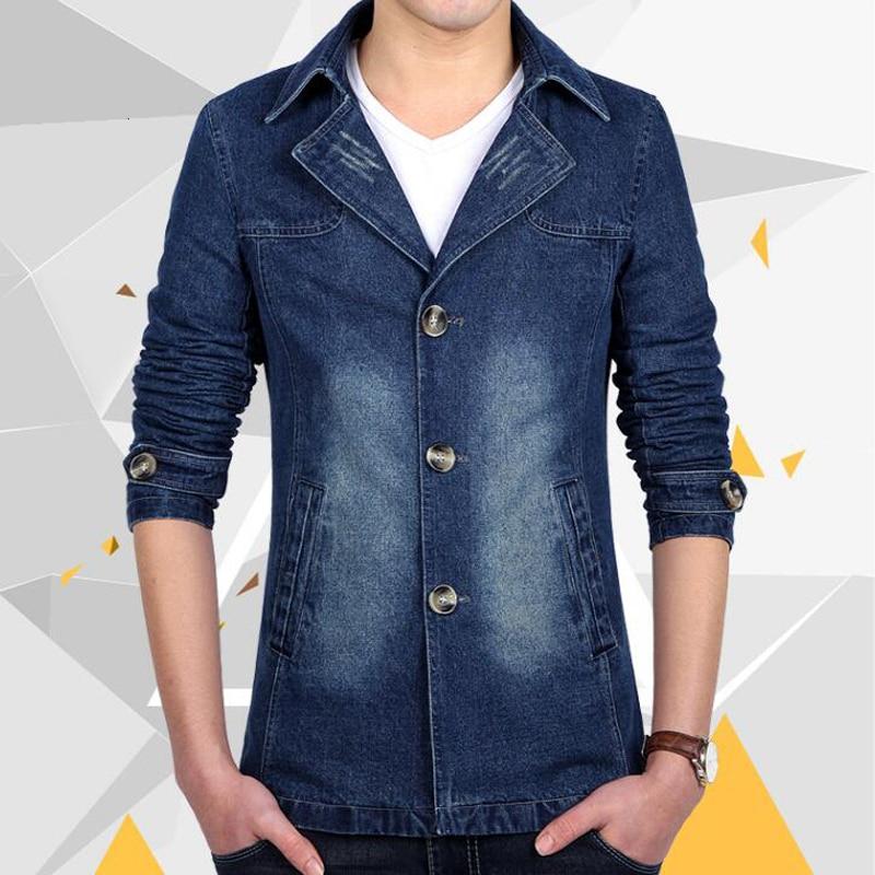 Cowboy Manteau Vestes Noir Col Longue La Denim Hommes Coton Turn Taille Classique down Mince Printemps Jean De Plus Rétro Outwear bleu Veste wzZRxq6RS