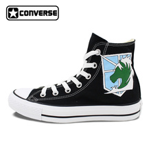 Anime Converse Man Woman Shoes Attack On Titan Military Police Unicorn Hand  Painted High Top Black Canvas Sneakers Men Women 02ac7f18cdb1
