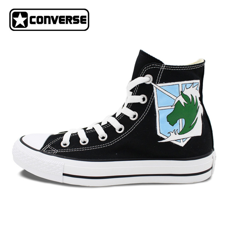 Anime Converse Man Woman Shoes Attack On Titan Military Police Unicorn Hand Painted High Top Black Canvas Sneakers Men Women