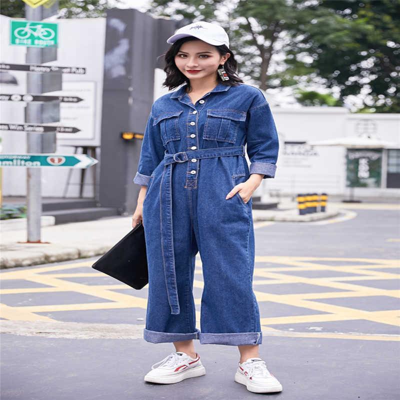Новые 2019 Весна Новое прибытие Для женщин Повседневное Дизайнер загрузки вырезать джинсовые комбинезоны с поясом комбинезоны для девочек уличная комбинезоны