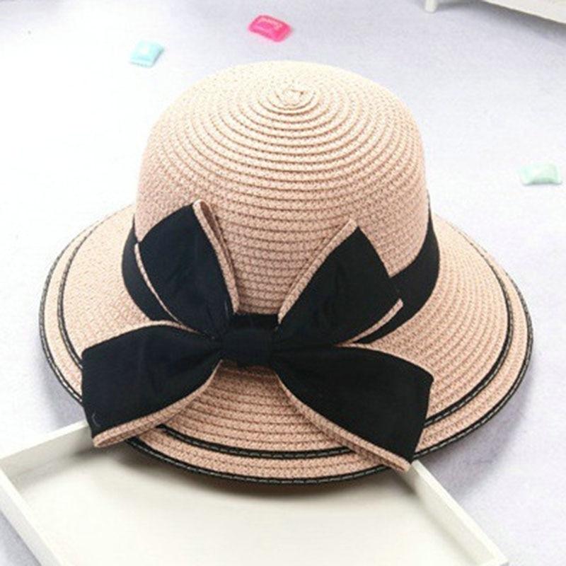 Արգելափակել արև երեխան երեխա Աղջիկ տղա մեծահասակ կին ամառային գլխարկ Բրիտանական ռետրո մեծ աղեղ արքայադուստր գանգուր ծղոտե ծովափ գլխարկ lm11-2