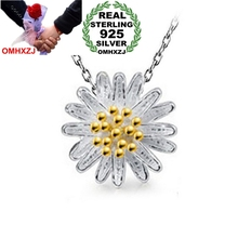 OMHXZJ Wholesale jewelry round woman sun flower Little daisy star kpop 925 sterling silver NO Chain Necklace pendant Charms PE10
