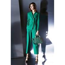 Jacket+Pants Green Women Business Suits Formal Professional Elegant Pantsuits Office Uniform Style Ladies Winter Formal Suits