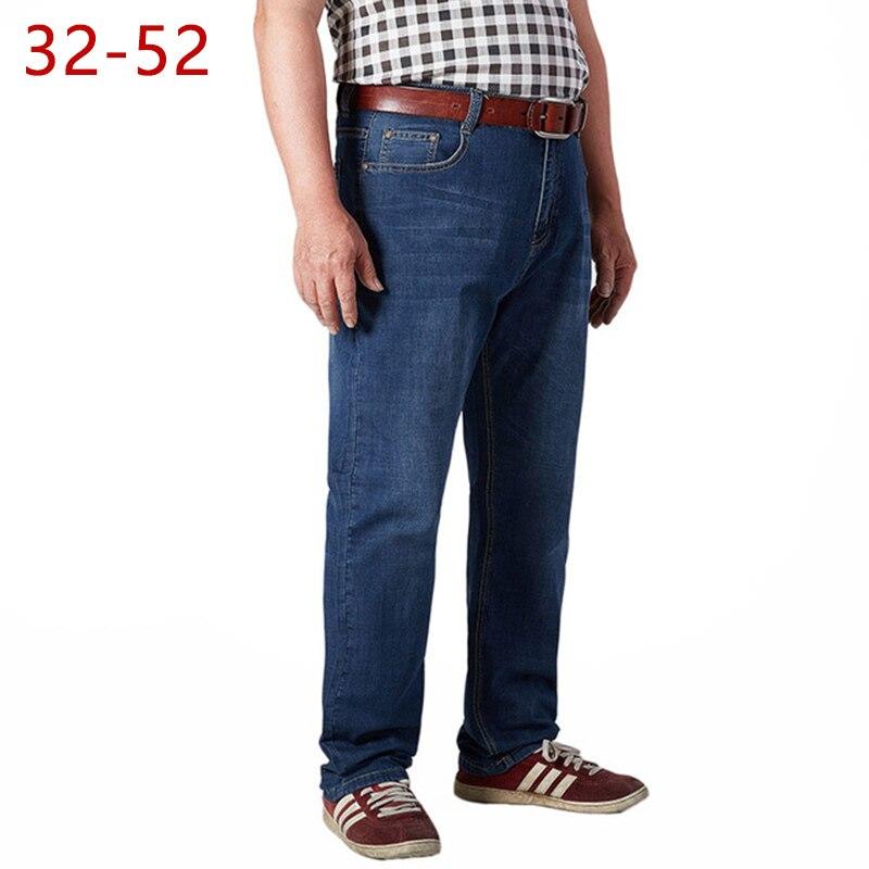 US $28.21 49% OFF|32 52 große Größe Herren Jeans Stretch Sommer Leichte Dünne Denim Hose Blau Denim Jeans Für Mann Mode Hosen hosen HLX29 in Jeans aus
