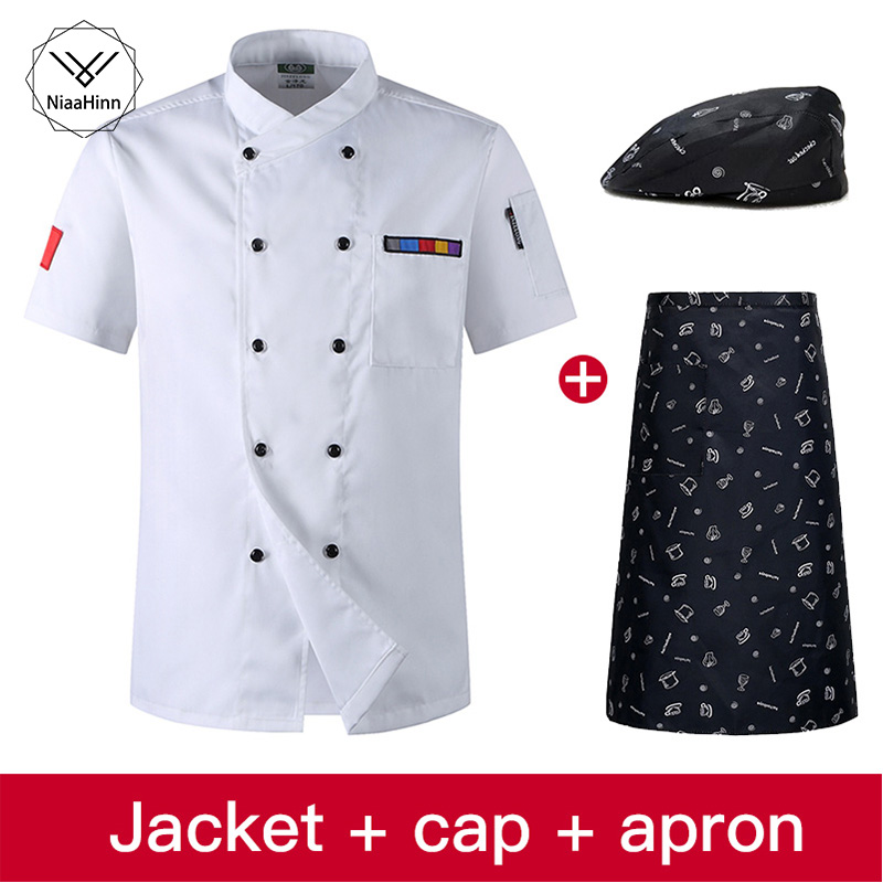 White Short Sleeve Double-Breasted Stand Collar Breathable Sweat High Quality Kitchen Workwear Bread Cafe Uniform+chefs Hat