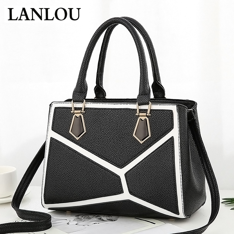 LANLOU women's bag Leather Handbags TOP-handle bag Luxury Jigsaw fashion lady crossbody  bags for women Casual fashion shoulder