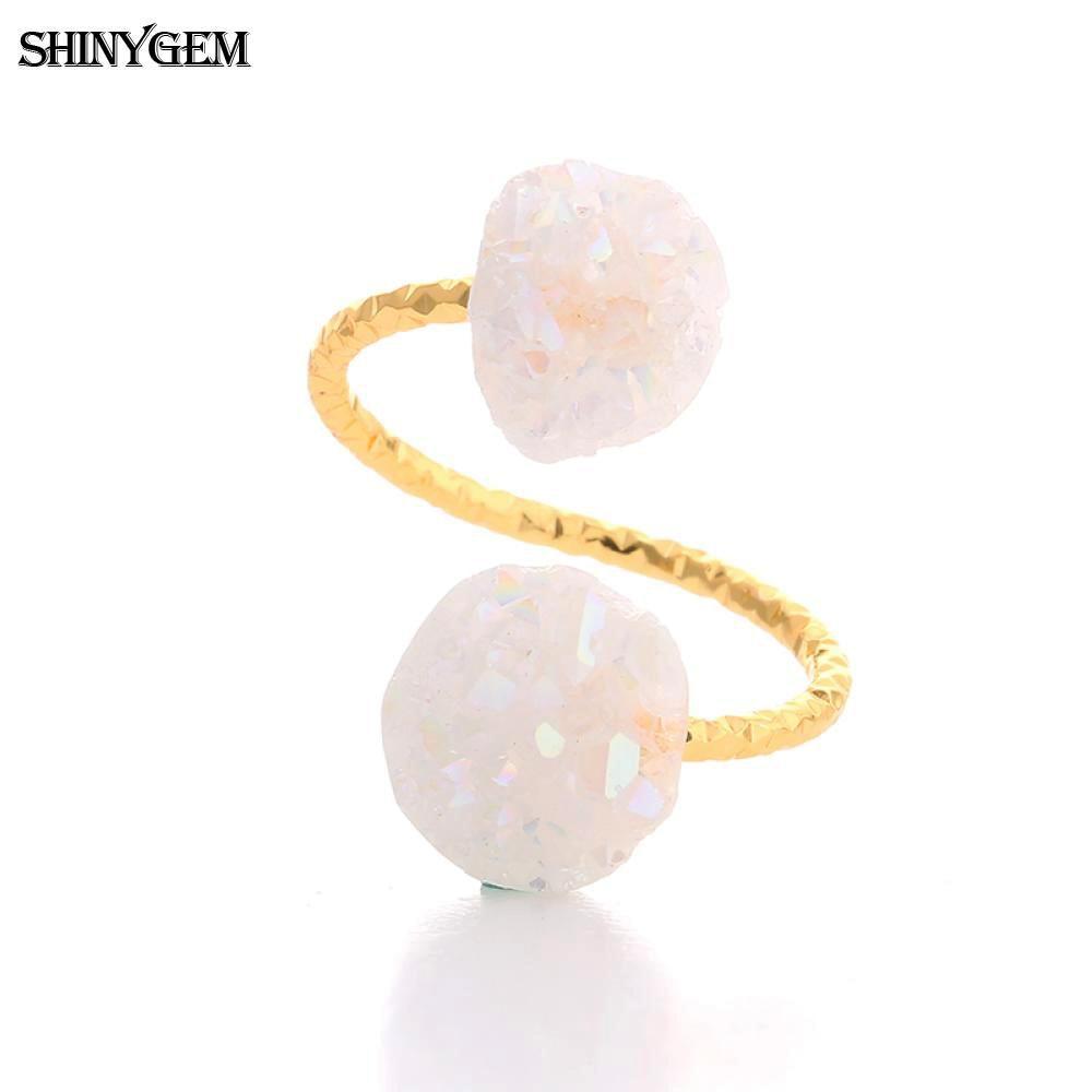 ShinyGem არარეგულარული Druzy Opal Rings - მოდის სამკაულები - ფოტო 4