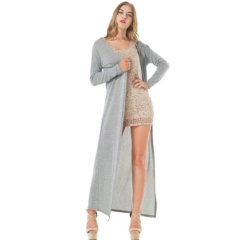 drop shipping Women Cardigans Thin Sweater Coat Knitted Long Sleeve Drape Open Black Grey Sweaters Maxi Outwear