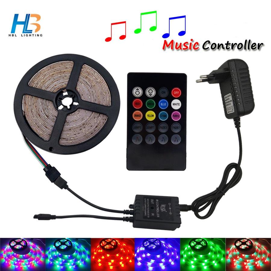 LED Strip light SMD2835 5M 10M RGB led ribbon non waterproof led tape 3528 diode tae rgb +IR 20 keys Controller+adapter kit IP20 вольтметр vakind yb27a led ac60 300 2 tae 76553 01
