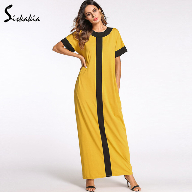 Siskakia Fashion contrast color maxi long dress for women Summer ...