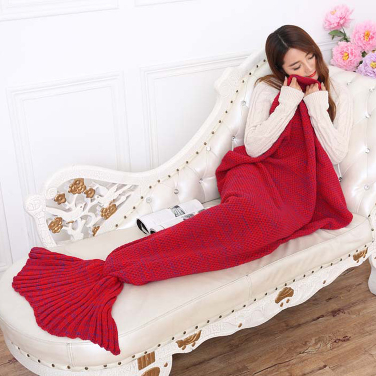 #a1 195*90CM Adults Soft Warm Thicken Cotton Knitted Blanket on The Bed/Sofa/Plane/Travel Winter Blanket Mermaid Tail Throw