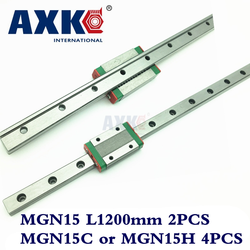AXK MGN15 Rodamientos Rolamentos 2pc 15mm Width 1200mm Mgn15 Linear Guide Rail + 4pc Mgn Mgn15c or MGN15H Blocks Carriage Cnc linear rail cnc router parts axk 1pc 15mm width 250mm mgn15 linear guide rail 2pc mgn mgn15c or mgn15h blocks carriage cnc