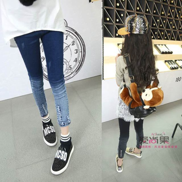 7fa58eb11c4 children s clothing 2018 spring and autumn 4-13year fashion style girl Jeans