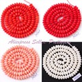 """FREE SHIPPING 3X5MM RONDELLE NATURAL CORAL SPACER LOOSE BEADS FOR DIY NECKLACE BRACELAT JEWELRY MAKING STRAND 15""""PICK COLOR"""