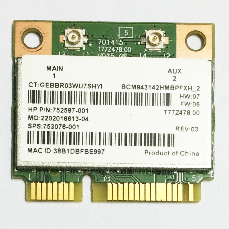 BCM943142HM 802.11bgn 1x1 Wi-Fi+Bluetooth 4.0 HMC WLAN Adapter 753076-001 For HP 430 440 445 450 G2 M6 Broadcom BCM43142