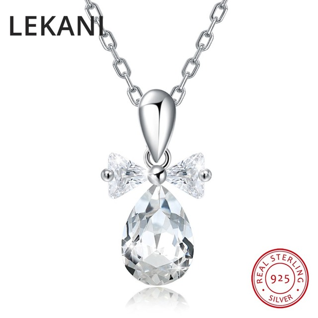 LEKANI Crystals From SWAROVSKI Cute Bowknot Waterdrop Pendant Necklaces  Real S925 Silver Fine Jewelry For Women a00643e34348