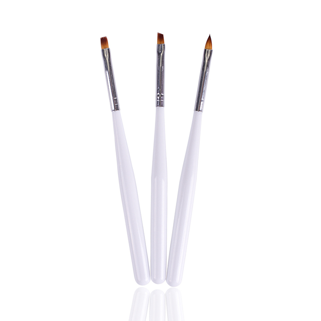 New Nail Brushes Sets 3pcs White Painting Carved UV Gel Polishing ...