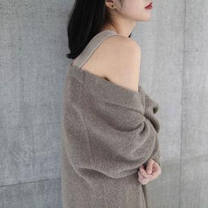 Image 3 - BELIARST 17 sweter z czystego kaszmiru damski sweter z dekoltem w szpic jesienno zimowy nowy sweter z długimi kieszeniami kurtka z dzianiny