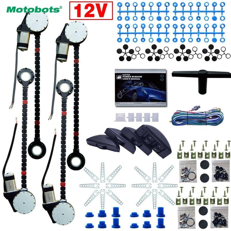 MOTOBOTS 1Set Universal Car/Auto 4 Doors Electronice Power Window Kits 8pcs/Set Moon Swithces And Harnessb Cable DC12V