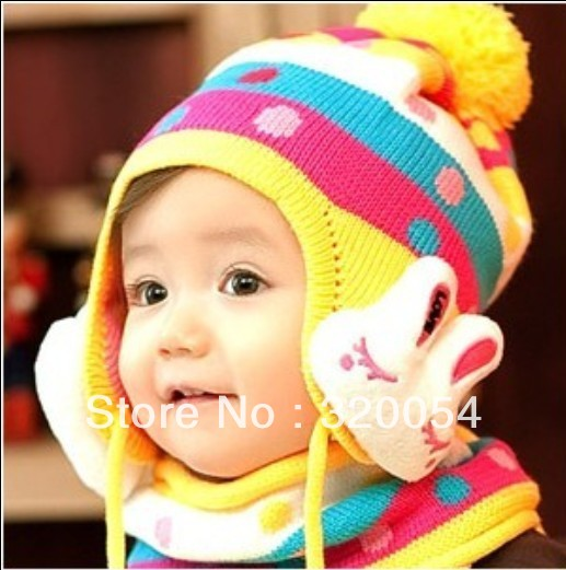 Free shipping,1pcs,2013new children dot rabbit ear protection knitted hat, winter fashion warm hat,caps multicolor