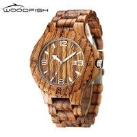 WOODFISH Classic Quartz Men Watch Fashion Natural Wooden Watches Vintage Retro Wood Wristwatches Time Clock Relogio