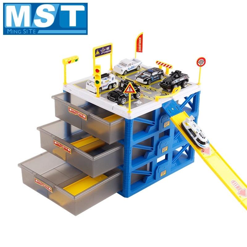 US $29 8 30% OFF|Kids Car Track Toys Mini Parking Lot 6PCS Cars Storage  Matchbox DIY Road Signs Slot Car Model Toys Carport Garage Toy For Kids-in