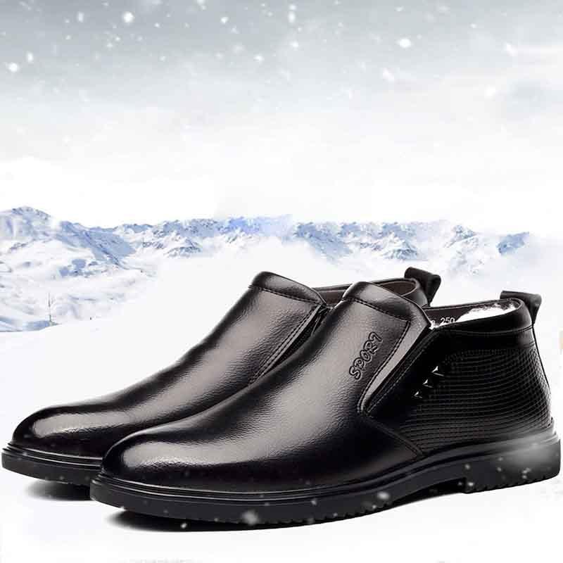 De Cuero Invierno Los Tobillo Cálido Negro Botas Genuino Con Ww Zapatos Hombres Moda 224 black 2 Masorini EtqU5