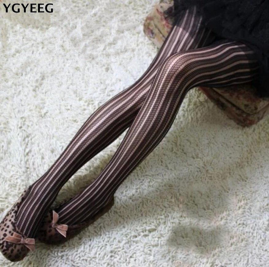 YGYEEG Retro Sexy Slim Bars Jacquard Fishnet Stockings Pantyhose Stockings Sexy Fishnet Pantyhose Mesh Tights Cutout Fishnet