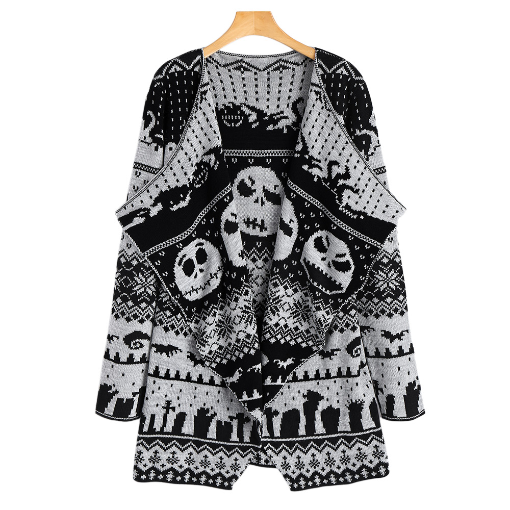 b6197a549 Gamiss Women New Plus Size Halloween Skull Knitted Tunic Cardigan ...