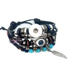 Фотография Original 187 Genuine Leather Hand Weave 18mm 12mm Snap Button Bracelet Interchangeable Charm Jewelry For Women Men Teenagers