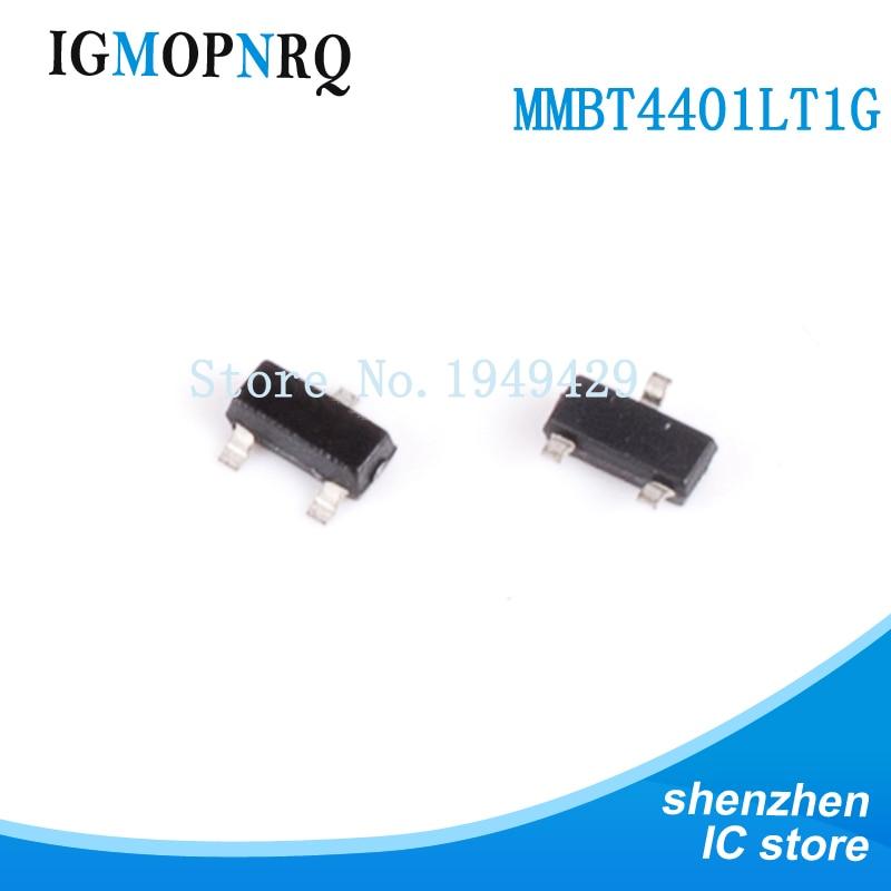 100PCS/Lot MMBT4401 MMBT4401LT1G 4401 2X 600mA 40V SOT-23 NPN SMD Transistor Triode100PCS/Lot MMBT4401 MMBT4401LT1G 4401 2X 600mA 40V SOT-23 NPN SMD Transistor Triode