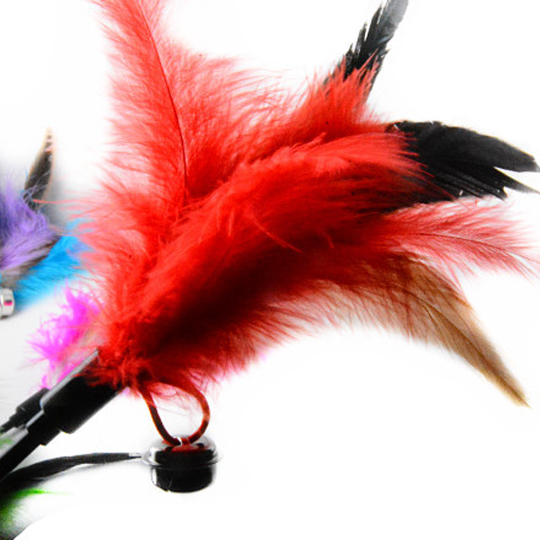 Ultra long Rod Pets Toy Fashion Cat Play Feather Teaser Small Bell Type Cat Toy 1pcs