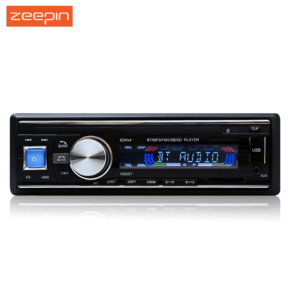 1 Din 1068 Car Radio Stereo Player Bluetooth AUX-IN MP3/FM / USB / Hands-free with Remote Control 12V Car Audio Car Electronics