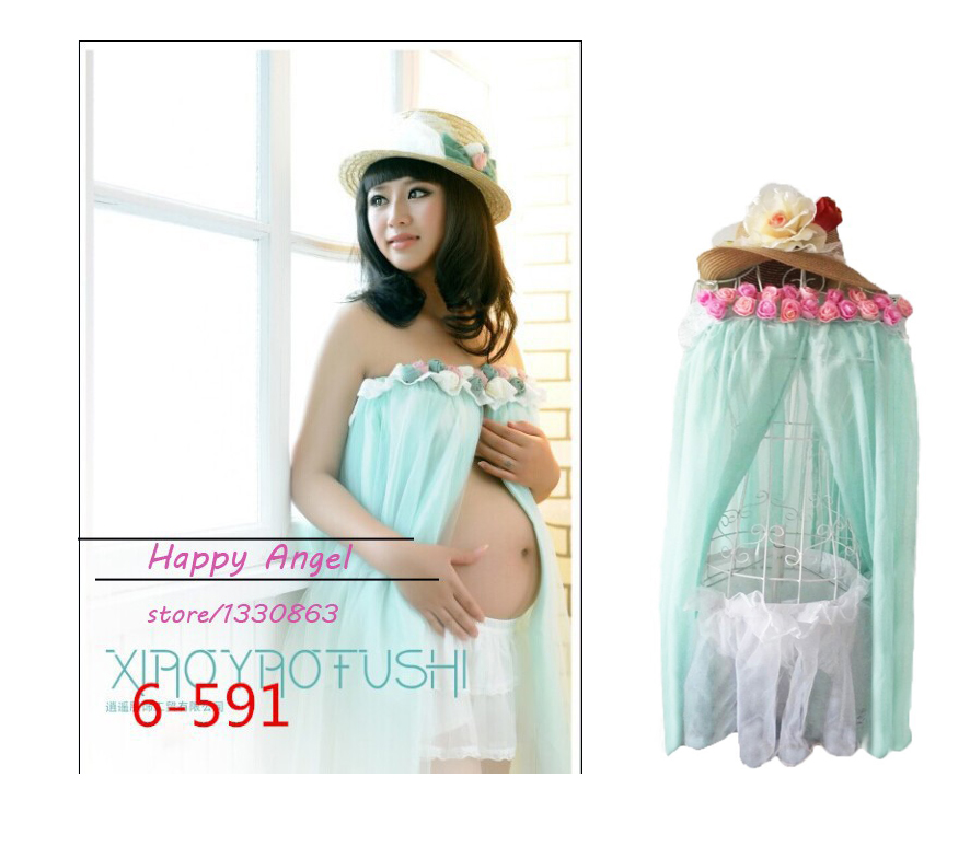 ФОТО Maternity pregnant women Photography Props Chiffon cute Dress Pregnancy sweet Light blue Romantic clothing set Baby Shower Gift