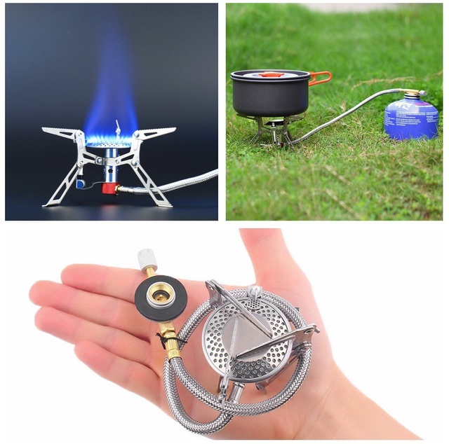 Ultralight Dpower  Aluminum Alloy Stainless Steel Outdoor Burn Camping Gas Stove Gas-powered Stove with Piezo Ignition Hiking