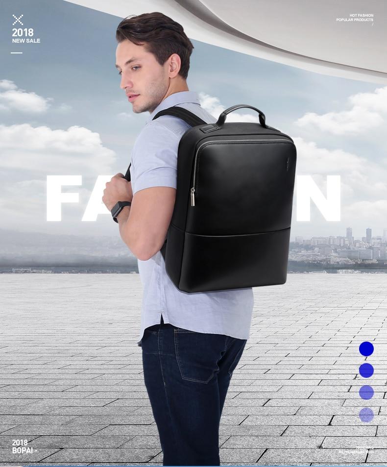 18 BOPAI Brand waterproof 15 inch laptop backpack men backpacks for teenager girls black leather male school backpack bag men 1