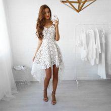 New Women Bodycon Lace Sleeveless Asymmetrical Hem High Low Bridesmaid  Evening Party Cocktail Dress 93545b18bfaf