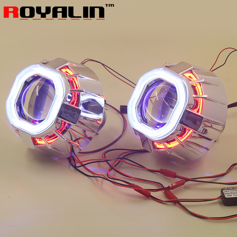 ROYALIN 2.5 inch Double LED COB Angel Eyes Bi xenon Mini HID H1 Projector Lens Metal Holder w/ Devil Eyes H4 H7 Car Retrofit
