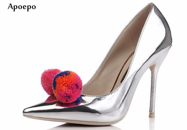 New Silver Metallic Leather High Heel Shoes Sexy Pointed Toe 10CM Thin Heels Shoes Pom-pom Decorations Stiletto Heels flower decorated kids headband with pom pom