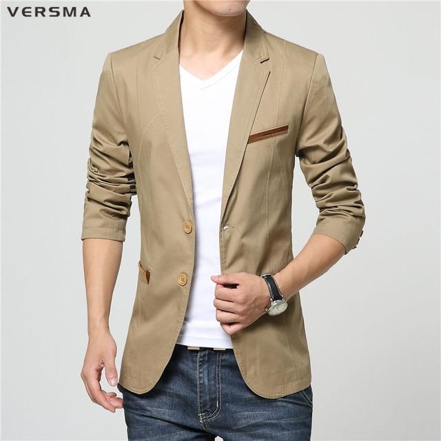 0f57497f2c7 VERSMA Beige Black Casual Men Blazer Suit Jacket Styles for Wedding Party  Wear Chaqueta Terno Slim Fit Office Suits Blazers Male