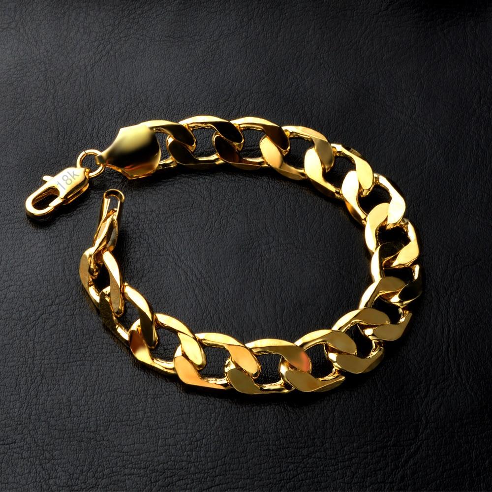SMTCAT Golden 6mm 8mm 10mm 12mm length 21cm arm chain women&men bracelet Pulseiras 18 K stamped whoelsale fashion men's jewelry