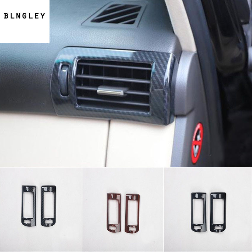 2 pcs/lot ABS fiber de carbone ou en bois grain avant des deux côtés sortie climatisation couverture pour 2009-2014 LEXUS RX200 RX300 RX350