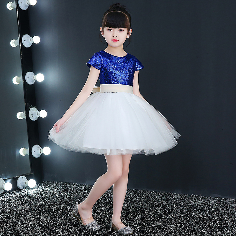 1-12Y Sequins Princess Dress Blue Flower Girl Dress Summer Girl Birthday Party Dress Kids Ball Gown First Communion Dresses E338 teenage girl party dress children 2016 summer flower lace princess dress junior girls celebration prom gown dresses kids clothes