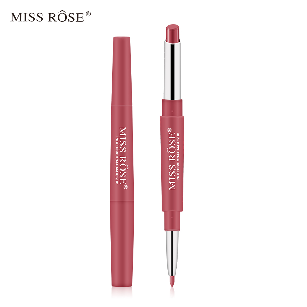 MISS ROSE 1Pc 2 In 1 Double-Headed Matte Lipstick Lip Liner Pencil Waterproof Long Lasting 30 Colors Matte Lip Tube Makeup TSLM2 5