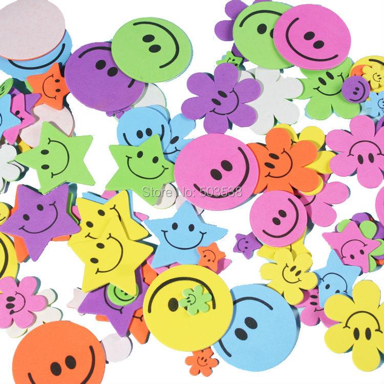 80PCS LOT Smile flower foam stickers Kids DIY toy Scrapbooking kit Early educational toys Kindergarten crafts